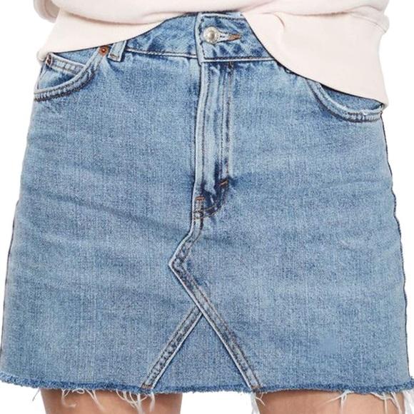 eeab2baddd Topshop Skirts | Top Shop Moto High Waisted Denim Mini Skirt Sz 2 ...